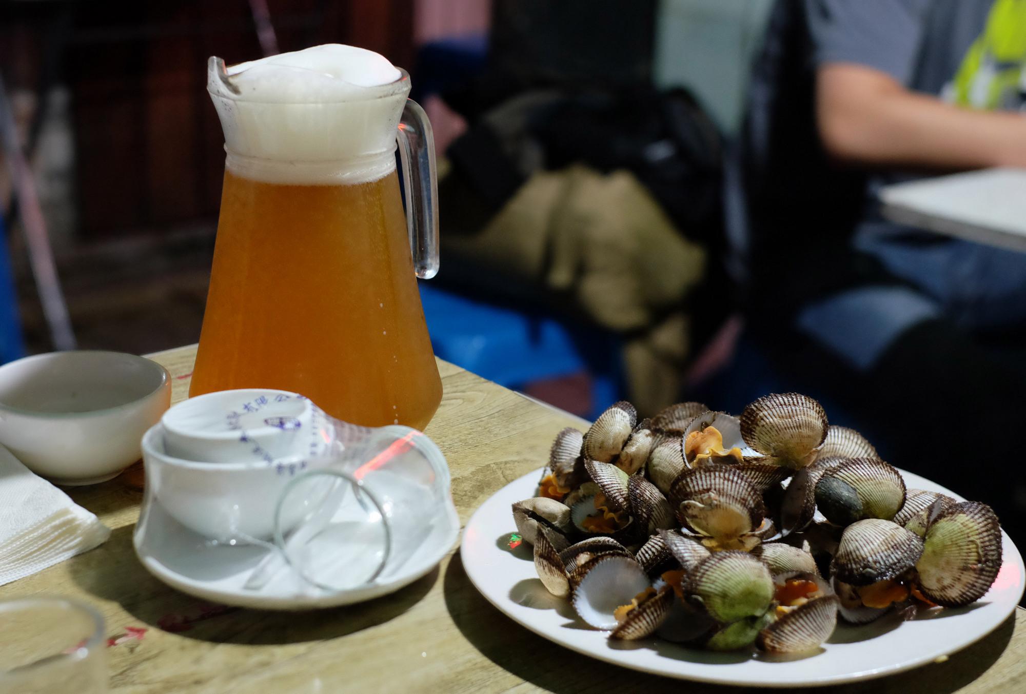 Bier und Muscheln